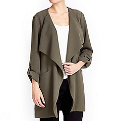 Wallis - Khaki waterfall collar jacket