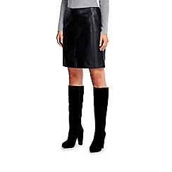Wallis - Black pu a line mini skirt