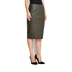 Wallis - Olive pu pencil skirt