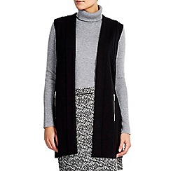 Wallis - Black sleeveless morgan jacket