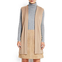 Wallis - Camel sleeveless morgan jacket