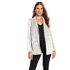 Wallis - Silver crushed velvet jacket