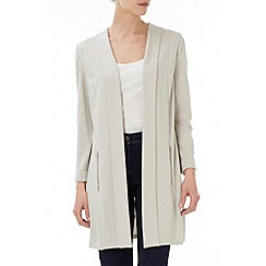 Wallis - Stone zip pocket long jacket