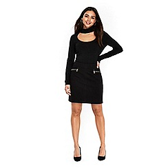 Wallis - Black soft zip skirt