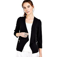 Wallis - Black zip pocket daisy jacket