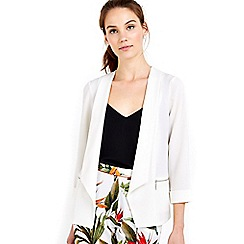 Wallis - Cream zip pocket short jacket