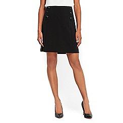 Wallis - Black cotton button A-line skirt