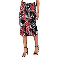 Wallis - Red palm print midi skirt