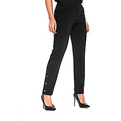 Wallis - Black cotton popper detail hem trousers