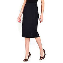 Wallis - Black ribbed pencil skirt