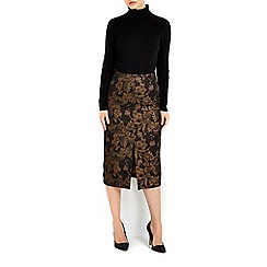 Wallis - Gold jacquard skirt