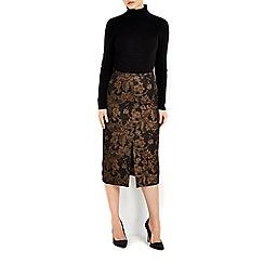 Wallis - Gold jacquard skirt
