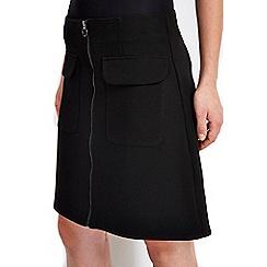 Wallis - Black zip milano mini skirt