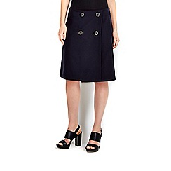 Wallis - Navy button front twill skirt
