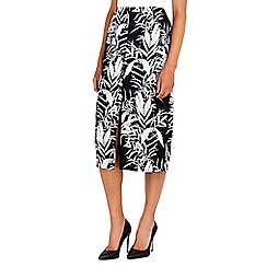 Wallis - Black palm print pencil skirt