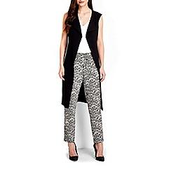 Wallis - Black sleeveless longline jacket
