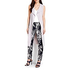 Wallis - Grey sleeveless longline jacket