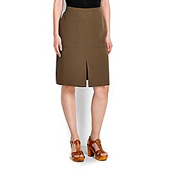 Wallis - Khaki split front skirt