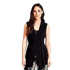 Wallis - Black belted sleeveless jacket