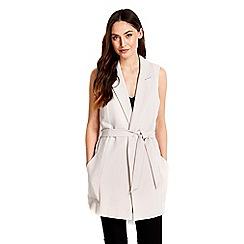 Wallis - Grey belted sleeveless jacket