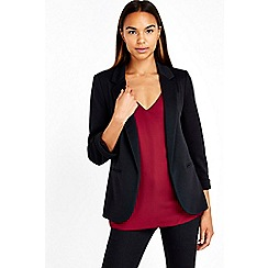 Wallis - Black ribbed blazer jacket