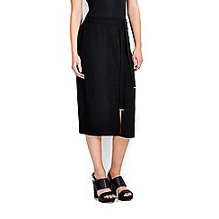 Wallis - Black belted split front skirt