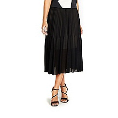 Wallis - Black pleated midi skirt