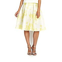 Wallis - Lemon jacquard skirt