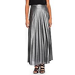Wallis - Silver pleated maxi skirt