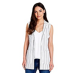 Wallis - Cream striped sleeveless jacket