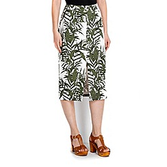 Wallis - Khaki palm print skirt