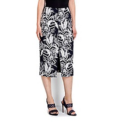 Wallis - Navy palm printed skirt