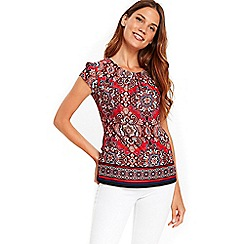 Wallis - Orange mosaic printed top