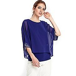 Wallis - Blue sparkle cuff layered top