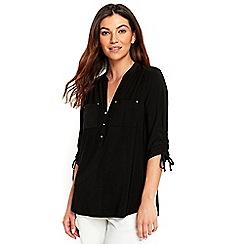 Wallis - Black drawstring sleeves shirt