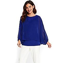Wallis - Blue sparkle layered top