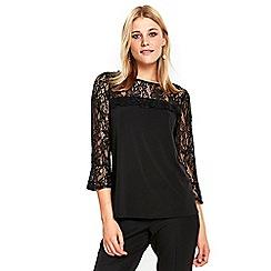 Wallis - Black lace detail top