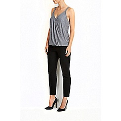 Wallis - Grey glitter cam wrap top