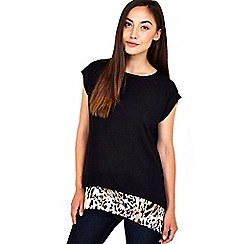 Wallis - Black animal print satin hem top