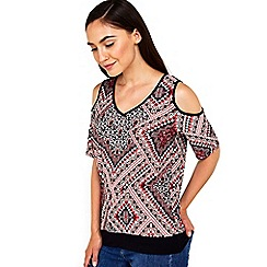 Wallis - Paisley printed cold shoulder top