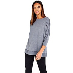 Wallis - Grey sparkle layered top