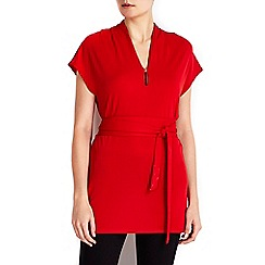 Wallis - Red belted tie waist top