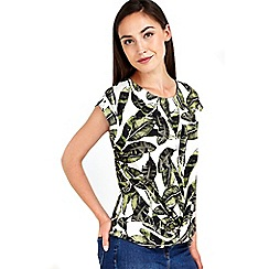 Wallis - Stone palm printed twist front top