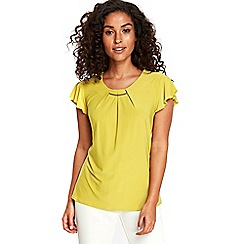 Wallis - Lime frill sleeves top