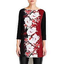 Wallis - Red oriental side split tunic top