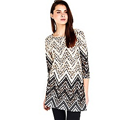 Wallis - Black animal zig zag tunic