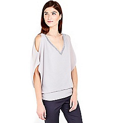 Wallis - Grey v-neck blouse