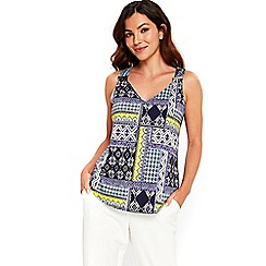 Wallis - Navy tribal print camisole top