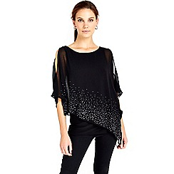 Wallis - Black embellished overlay top