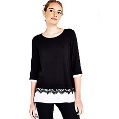 Wallis - Black lace woven hem top